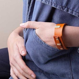 Кожаный браслет LUY N. 1 один оборот (оранжевый). Браслет из натуральной кожи