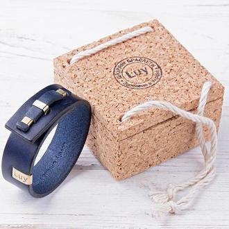Кожаный браслет LUY N. 1 один оборот (синий). Браслет из натуральной кожи