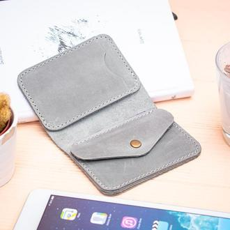 Бумажник из натуральной кожи серый