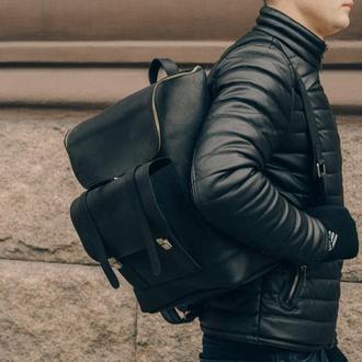 Городской кожаный рюкзак черный, Мужской рюкзак для ноутбука