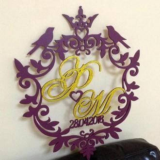 Королевская Свадебная монограмма семейный герб 40 см
