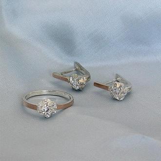 Серебряные серьги и кольцо Гламур