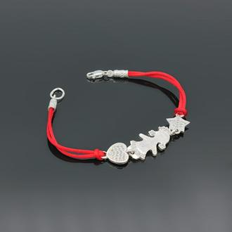 Шелковый браслет с серебром и фианитами Соня