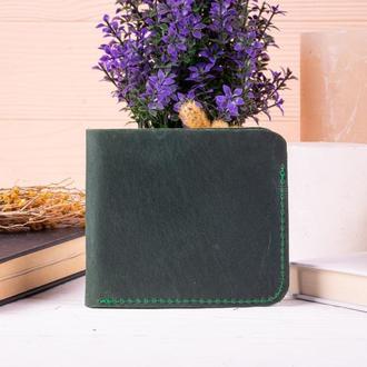 Роскошный кожаный зеленый бумажник