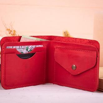 Красный роскошный кожаный бумажник