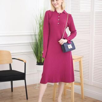 Платье поло из 100% мериноса ягодного цвета