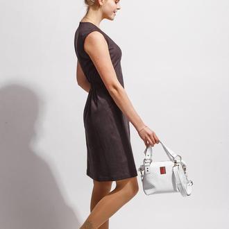 Кожаная сумка «питон» белого цвета 0210