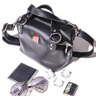 Кожаная сумка «гладкая» черная 0101