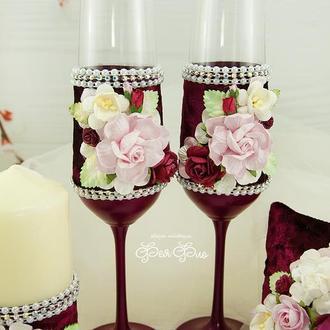 Свадебные бокалы и лопатка/нож для торта марсала / Бокалы бордовые / Нож и лопатка для торта розовые