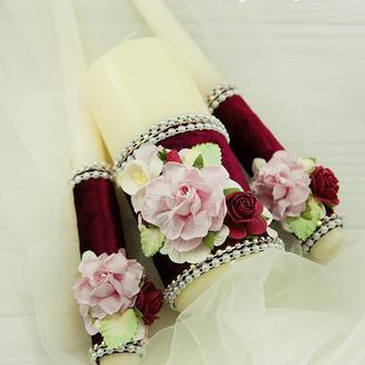 Семейный очаг нежно-розовые / Свечи для свадьбы / Свечи марсала / Бордові свічі для весілля