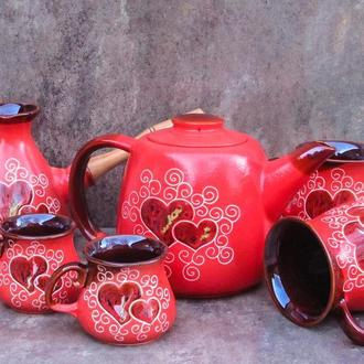"""Чайно-кофейный набор Лейка на 2 персоны, декор """"Сердце"""", красный"""