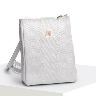 Кожаная сумка-рюкзак «питон» белая