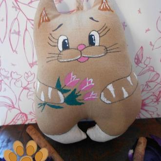 Кофейная кошечка с тюльпанами!