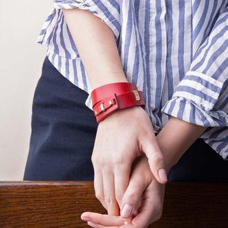 Кожаный браслет LUY N. 1 два оборота (красный). Браслет из натуральной кожи