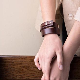 Кожаный браслет LUY N.1 два оборота (махагон). Браслет из натуральной кожи