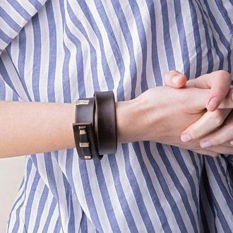 Кожаный браслет LUY N.1 два оборота (коричневый). Браслет из натуральной кожи