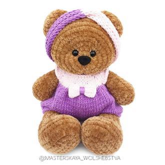 В'язаний мишко. Плюшевий ведмедик. Ведмедик. Іграшка для фотосесії. В'язані іграшки. Декор. Для сну