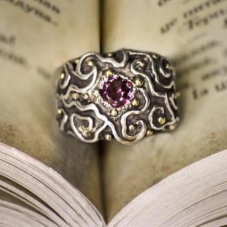 серебрянное кольцо с гранатом родолитом