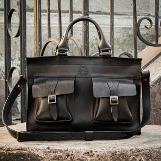 Черная кожаная сумка для документов,  Мужской деловой портфель