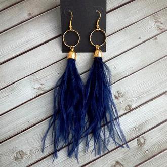 Темно синие серьги из натуральных перьев страуса