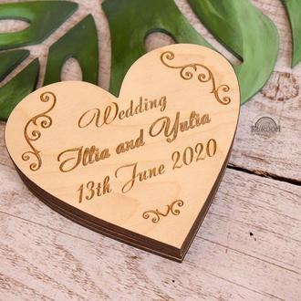 Шкатулка свадебная с гравировкой