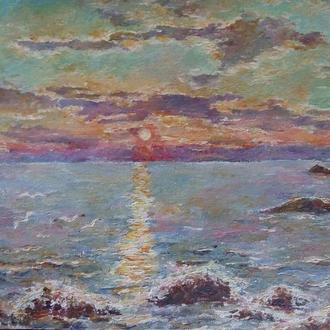 Картина акрилом ′Золото заката′ закат над морем
