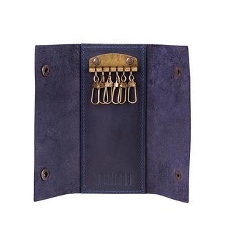 Ключница на 6 ключей синяя из натуральной кожи