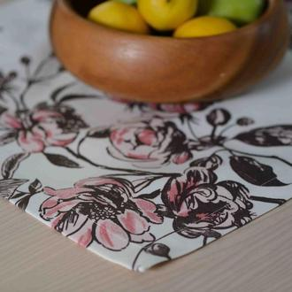 Салфетка квадратная Магнолия. Домашний текстиль. Сервировка стола.