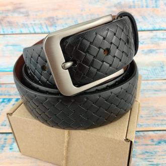 Ремень мужской кожаный SF-358 black (3,5 см)