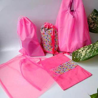 Набор из эко сумки и эко мешочков для покупок, сумка и эко мешочки, розовый