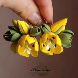 "Серьги  ""Желтые тюльпаны с фрезиями"""