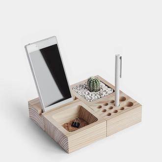 Деревянный органайзер, подставка для телефона, вазон, держатель для ручек