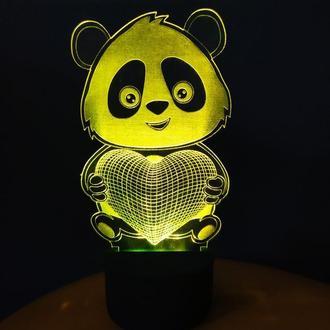 3d-светильник Панда с сердцем, 3д-ночник, несколько подсветок, подарок романтический