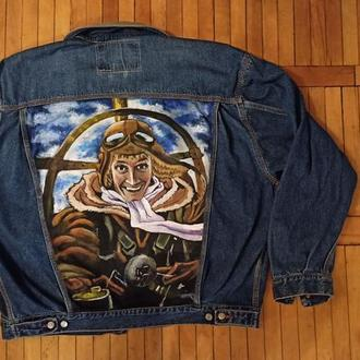 мужская джинсовая куртка с рисунком пилот аниме
