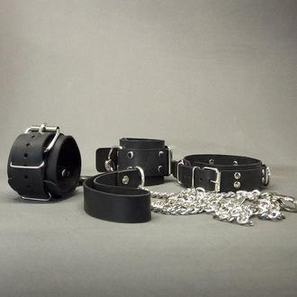 Чёрный кожаный BDSM набор для ролевых игр