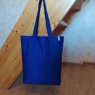 """Легкая отличная сумка шоппер """"Синяя"""" с подкладкой и карманом"""