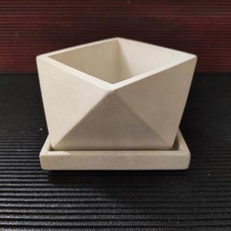 Горшок для цветов с подставкой,бетонное кашпо, кашпо под суккулент, мох (Код ГЕРМЕС)