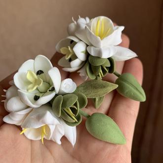 """Большие серьги с цветами """"Тюльпаны с фрезиями"""""""