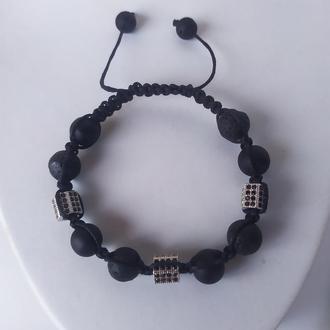 Стильный  браслет - шамбала из оникса и лавы
