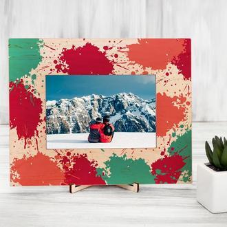 Деревянная рамка для фотографий с цветной печатью «Кляксы»