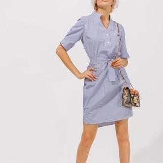 Платье-рубашка с открытой спинкой. Женское платье миди. Платье из коттона