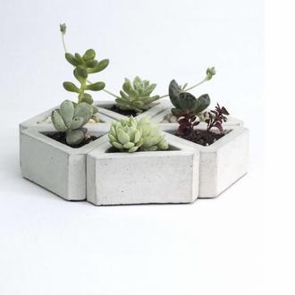 Горшок для цветов,бетонное кашпо,кашпо для кактусов, кашпо под суккулент  (Код ТРИАДА)
