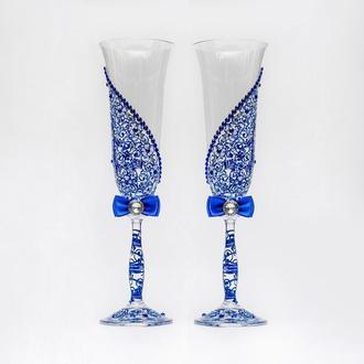Бокалы с синими узорами (арт. WG-006)