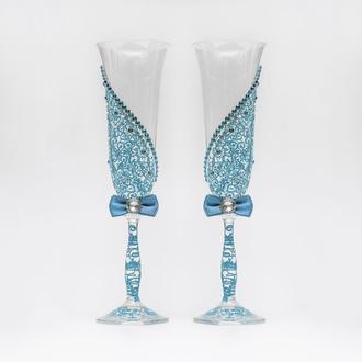 Бокалы с голубыми узорами (арт. WG-008)