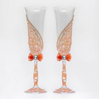Келихи з персиковими візерунками (арт. WG-011)