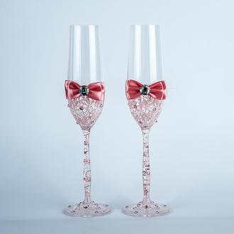 Свадебные бокалы с пудровыми узорами (арт. WG-314)
