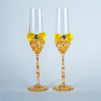 Свадебные бокалы с желтыми узорами (арт. WG-309)