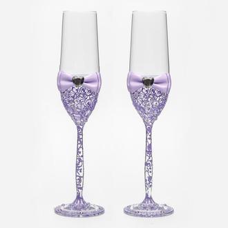 Свадебные бокалы с сиреневыми узорами (арт. WG-307)
