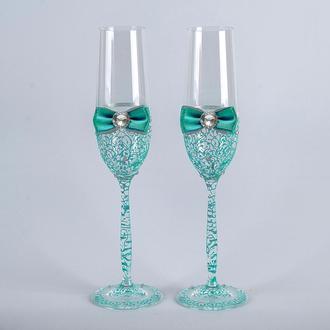 Свадебные бокалы с мятными  узорами (арт. WG-304)