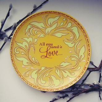 Декоративная тарелка All you need is love подарок на свадьбу